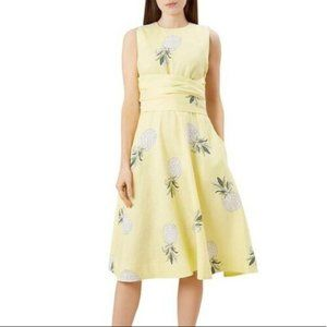 Hobbs NWOT Yellow Linen TWITCHELL Pineapple Dress